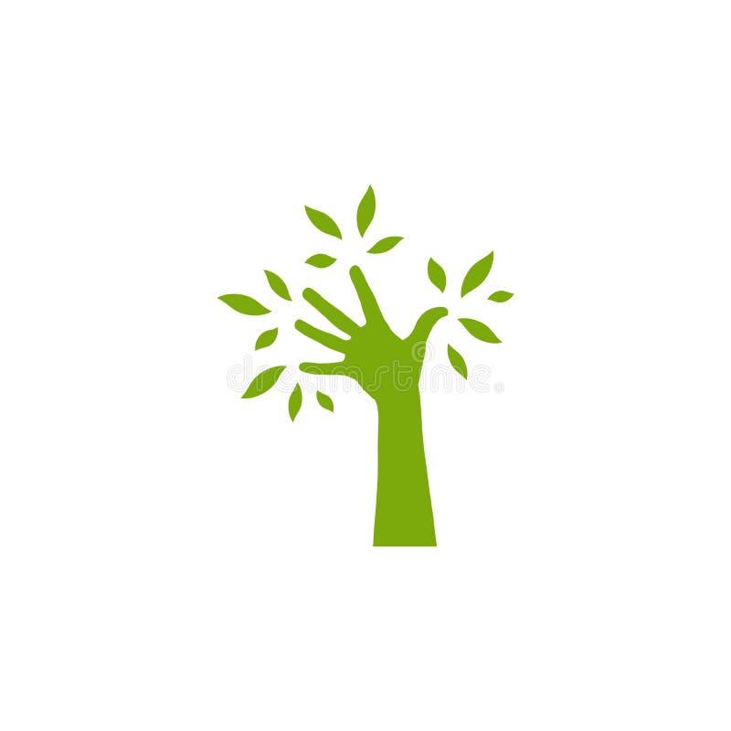 Зеленый силуэт руки с листьями символ экологичности с деревом руки Спасительный логотип природы изолированный на белизне бесплатная иллюстрация
