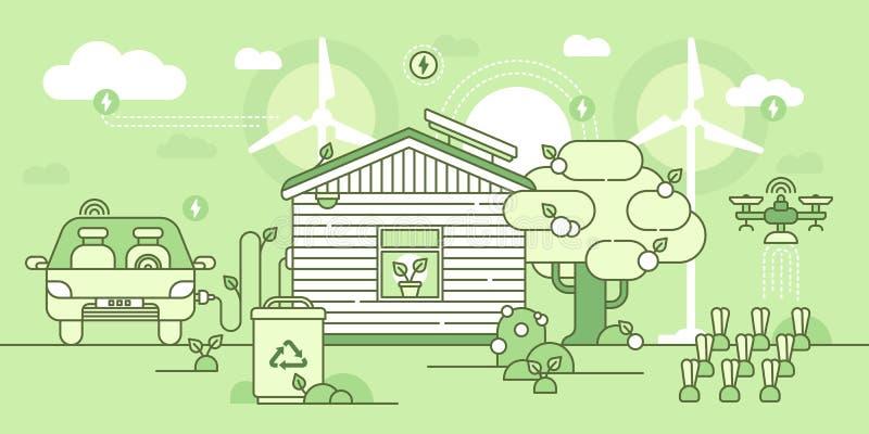 Eco hus vektor illustrationer