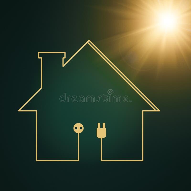 Eco hus, abstrakt makt och energibakgrunder stock illustrationer