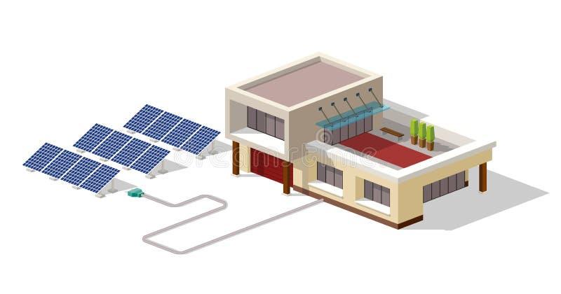 Eco hus förbindelsesolpanelväxt Hus med alternativ Eco gräsplanenergi, isometriskt infographic begrepp 3d sol- vektor illustrationer