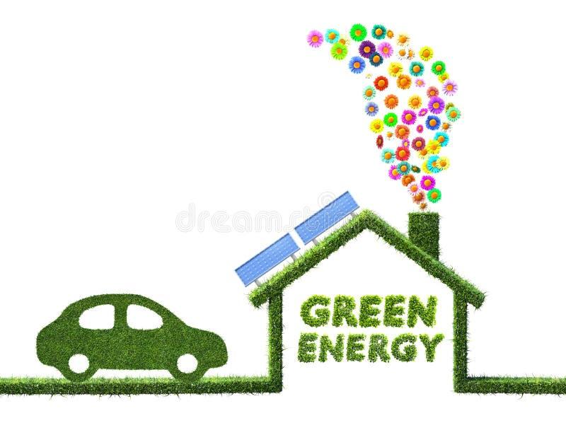 Eco husbegrepp som göras av gräs och blommor royaltyfri illustrationer
