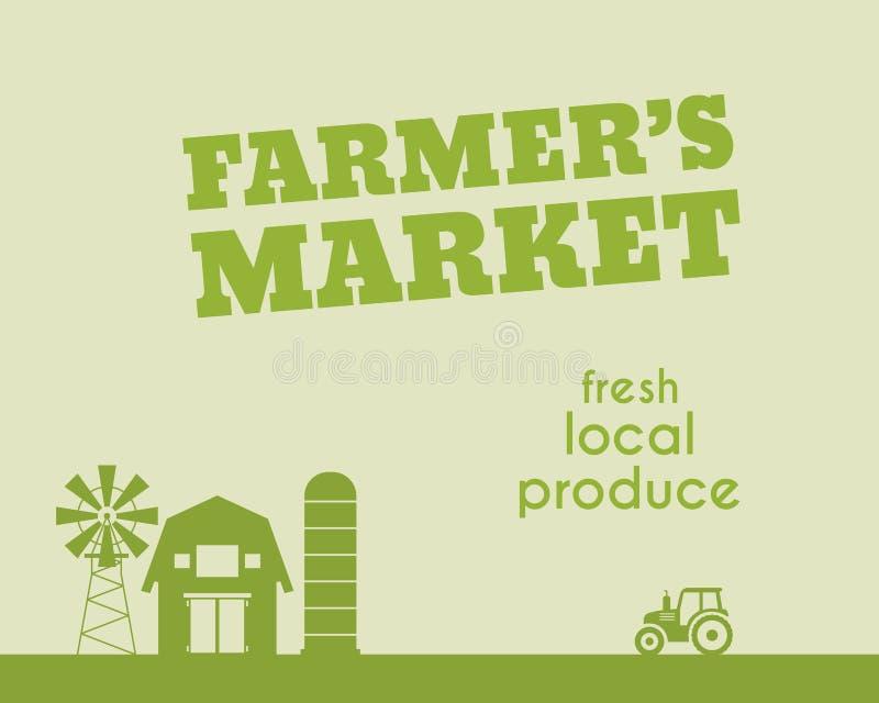 Eco i organicznie tło Rolnika s rynku plakat ilustracja wektor