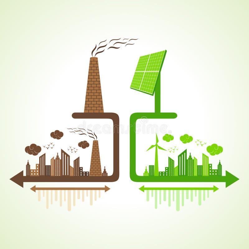 Eco i zanieczyszczający miasta pojęcie z panelem słonecznym i kominem royalty ilustracja