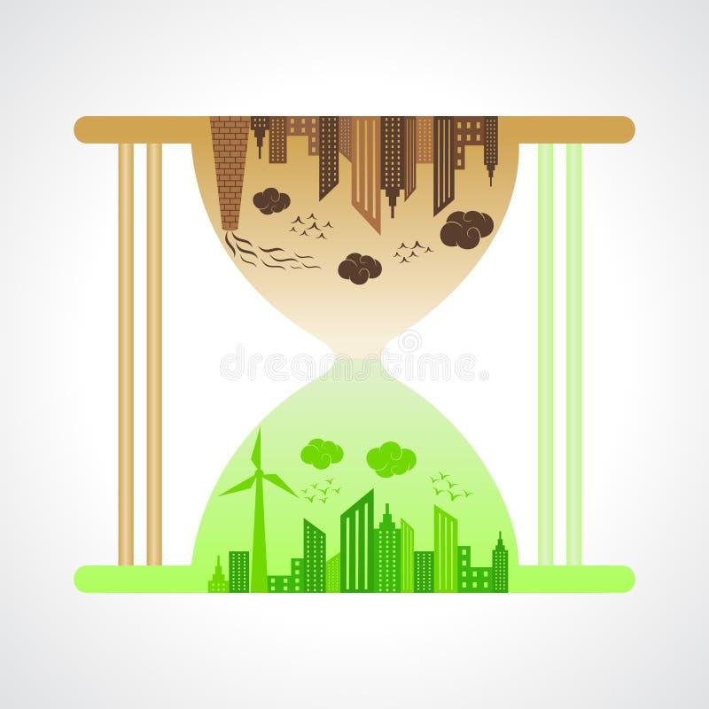 Eco i zanieczyszczający miasta pojęcie z piaska zegarkiem ilustracja wektor