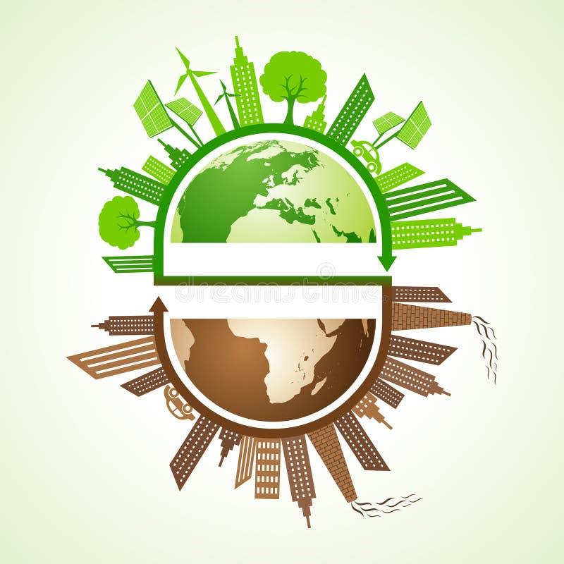 Eco i zanieczyszczający miasta pojęcie z ziemią ilustracja wektor