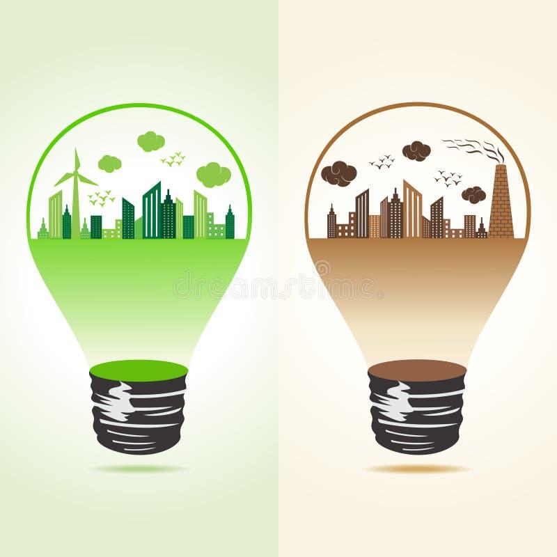Eco i zanieczyszczający pejzaż miejski w żarówce ilustracji