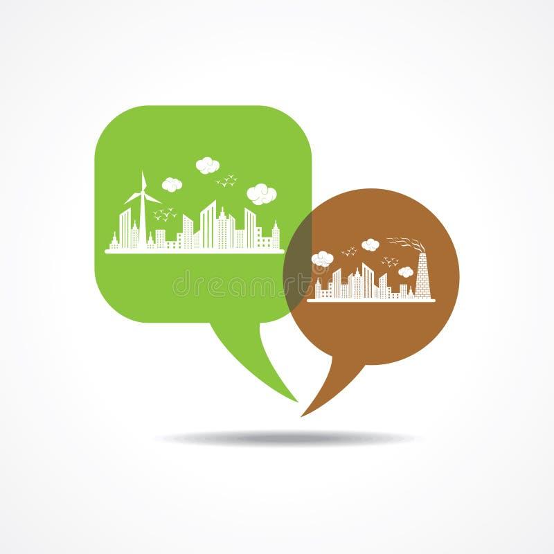 Eco i zanieczyszczający pejzaż miejski w wiadomość bąblu ilustracji