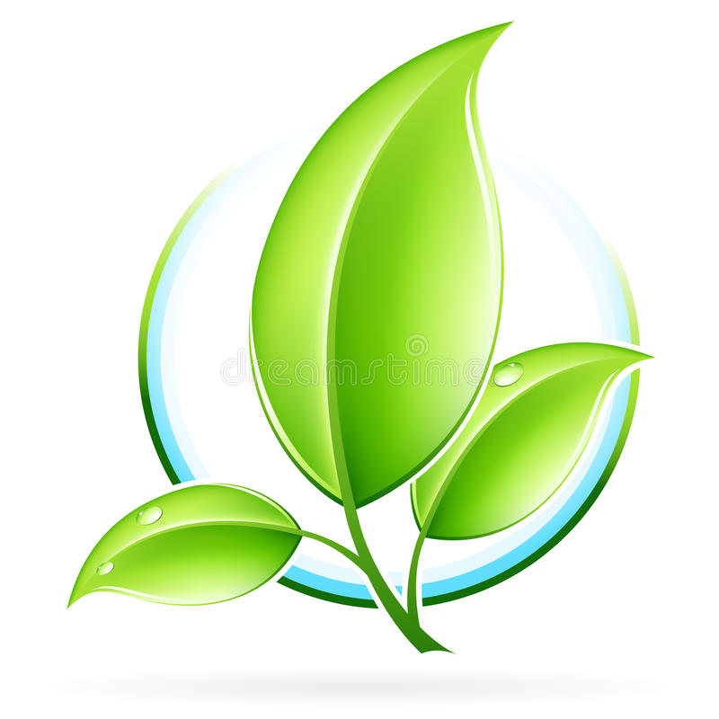 ECO icon. Green ecology concept icon with leaf for your design royalty free illustration