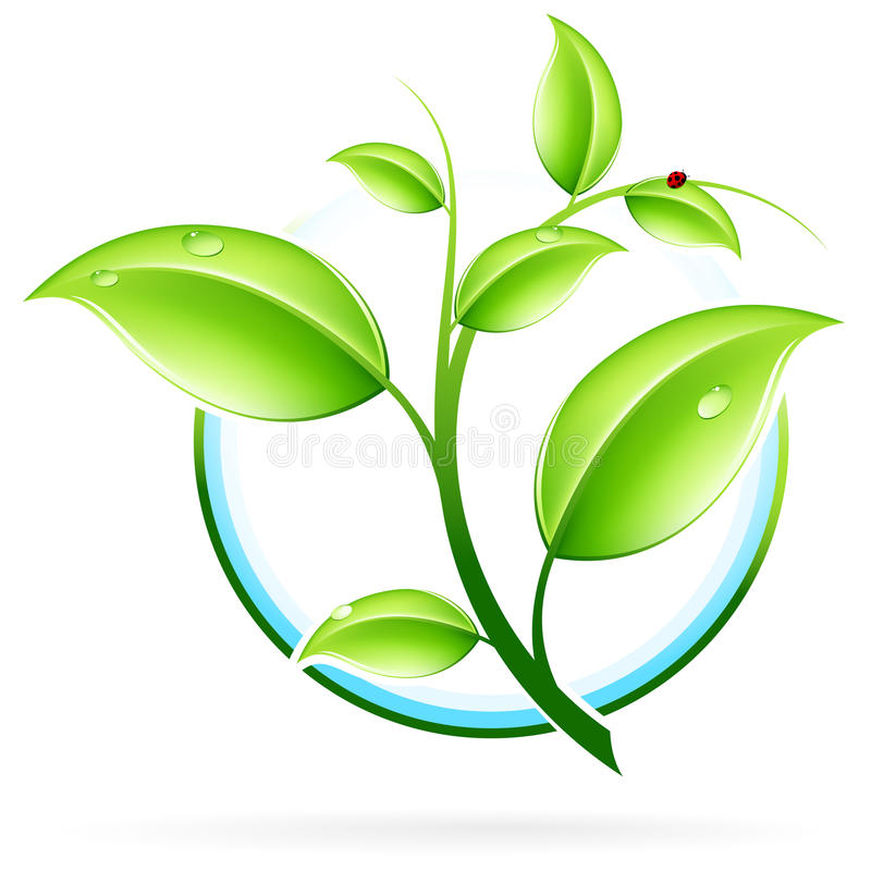 ECO icon. Green ecology concept icon with leaf for your design stock illustration