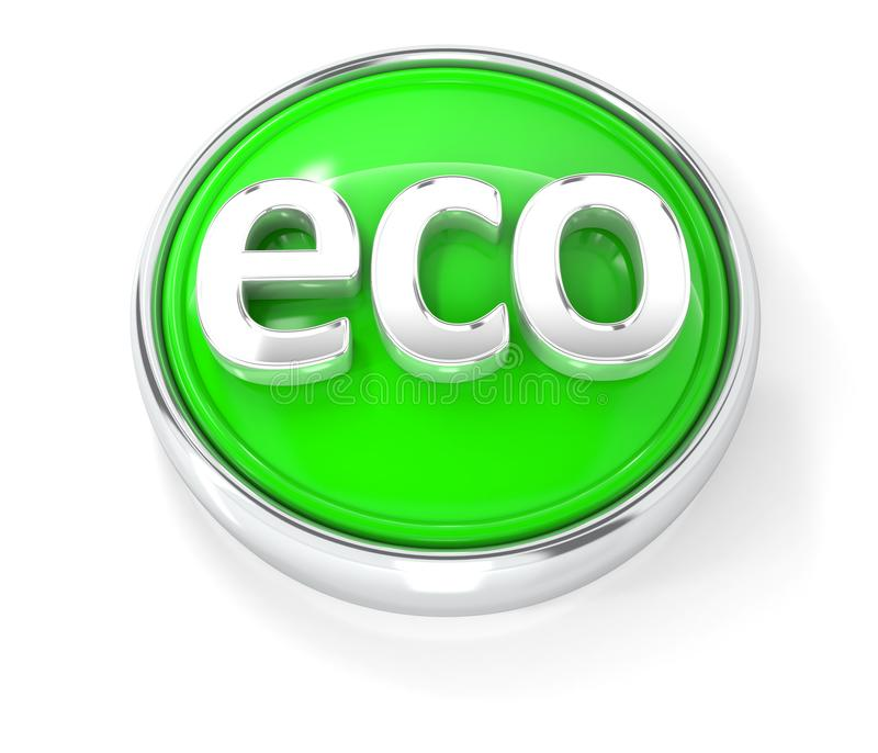 Eco icon on glossy green round button stock illustration