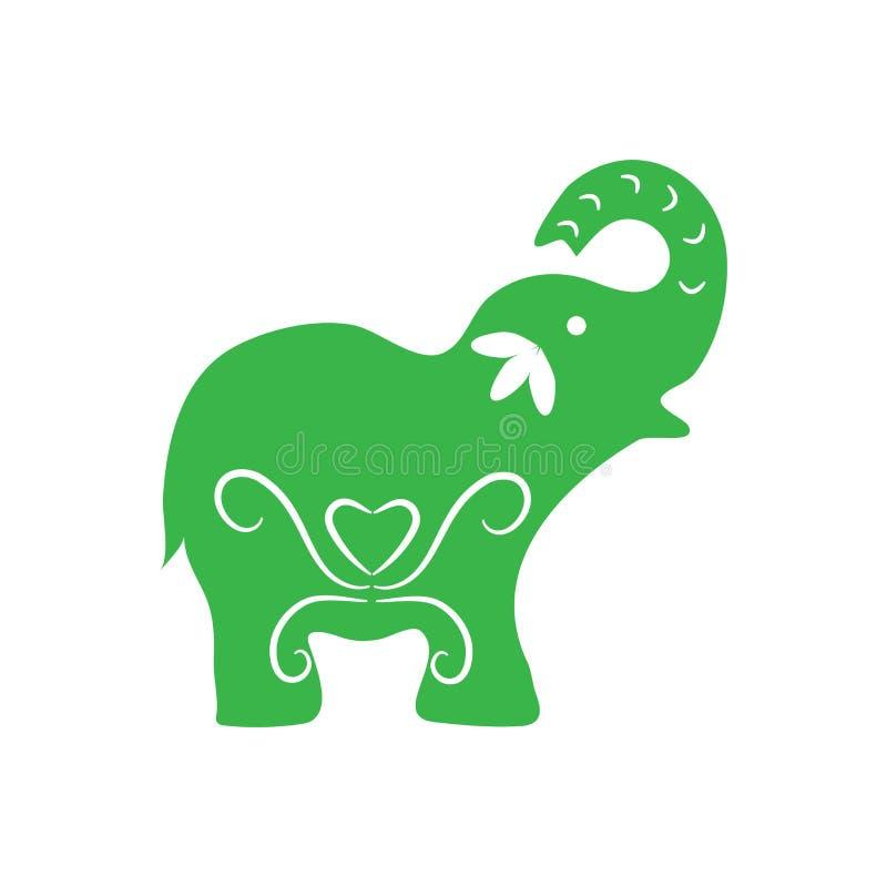 Eco icon green elephant simbol. Vector illustration isolated on the light background. Fashion graphic design. Eco concept. Green c royalty free illustration