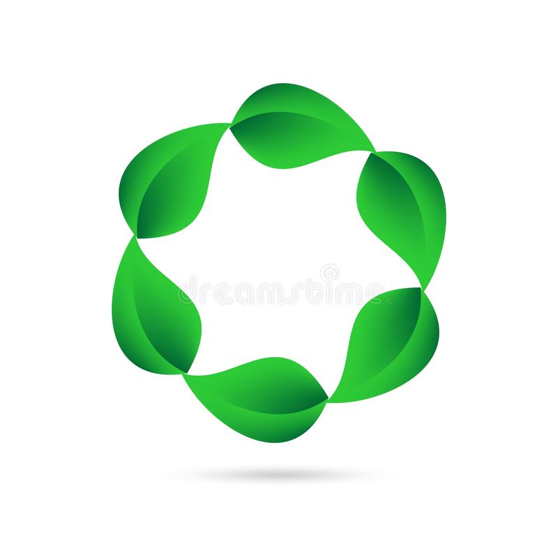 Eco icon from green leaves in a circle on a white background with gray shadow on the bottom. Environmental abstract design natural. Round shape vector illustration