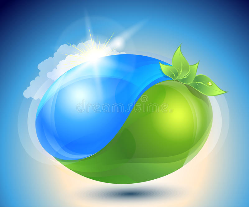 Eco-icon With Nature Yin-yang Stock Photo