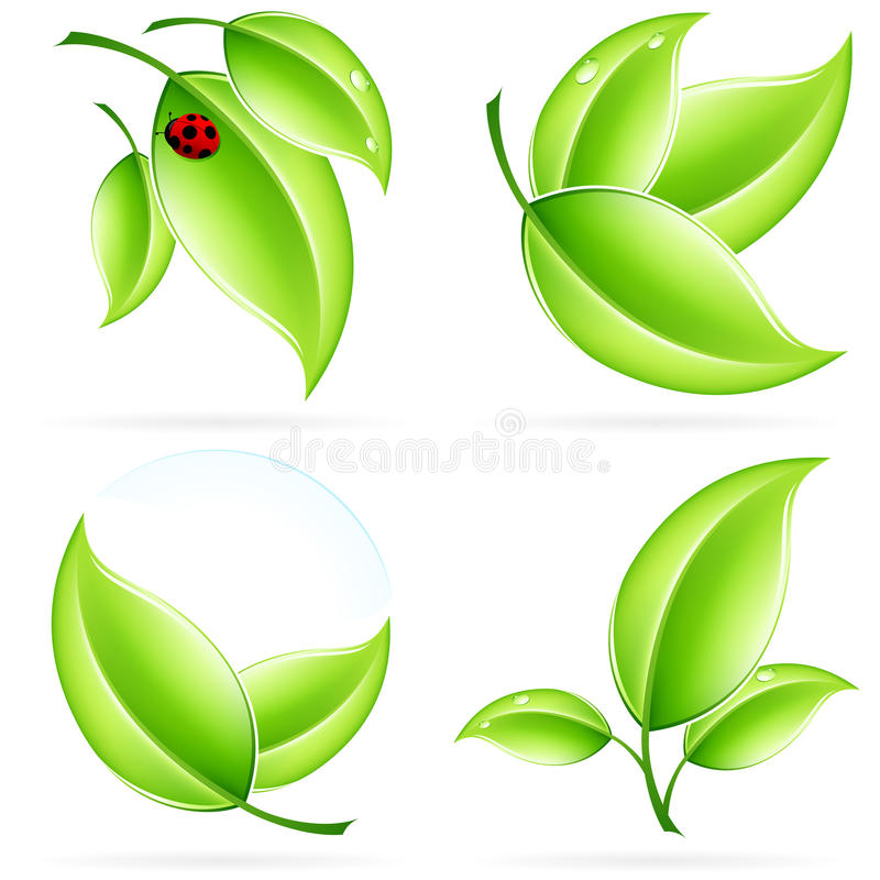 ECO icon set. Green ecology concept icons with leaf and shadow for your design stock illustration