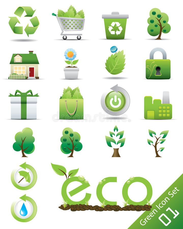 Eco icon set. Eco logic idea icon set
