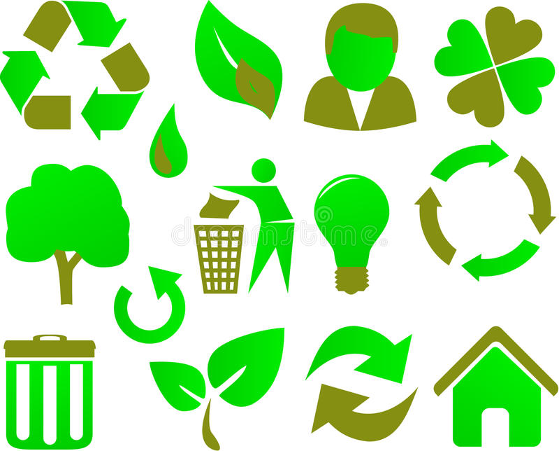 Eco icon set green royalty free illustration