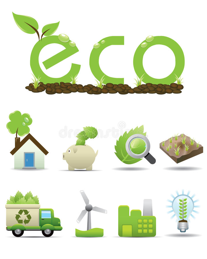Download Eco Icon Set -- Vector Green Icon Royalty Free Stock Images - Image: 18309569