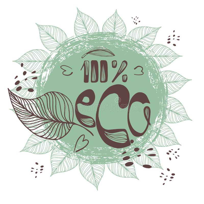 Round Eco, Green Logo. Vegan Vector Logotype. Vegan Food