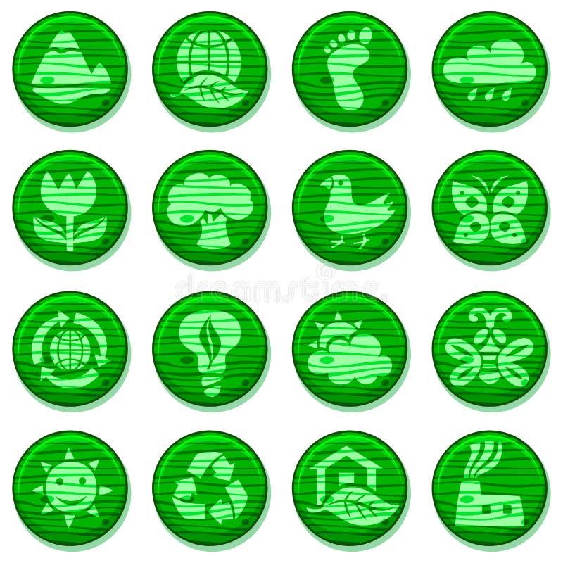 eco Icone di legno dell'ambiente impostate illustrazione di stock