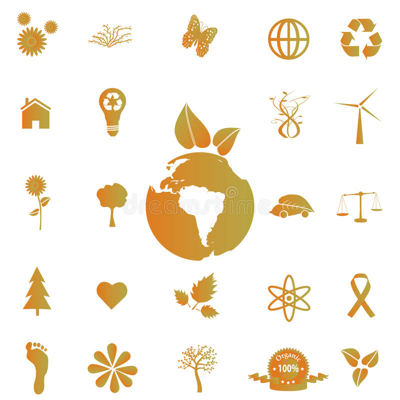 Download Eco Icons stock vector. Illustration of orange, fall - 14996493