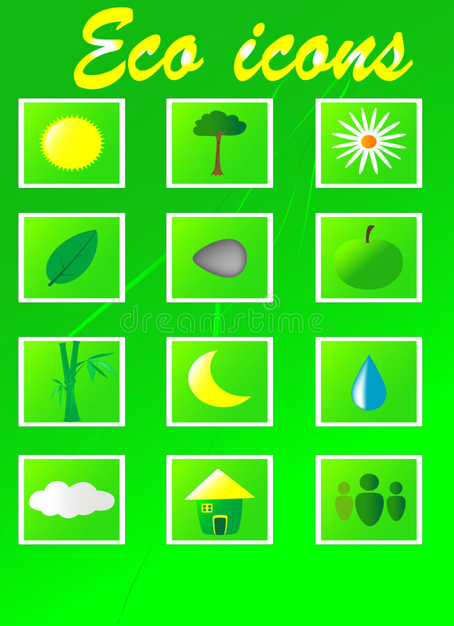 Download Eco icons stock vector. Illustration of flora, icons - 25517733