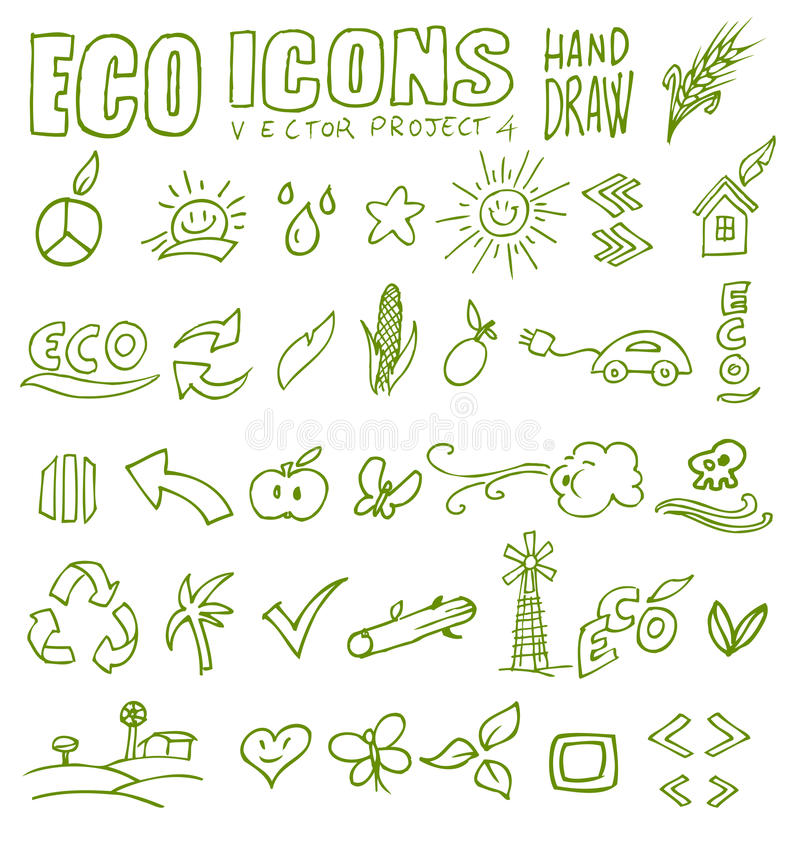 Free Eco Icons Hand Draw 4 Royalty Free Stock Images - 30024939