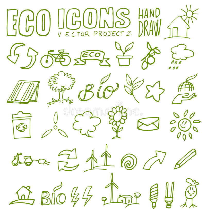 Download Eco icons hand draw 2 stock vector. Image of electric - 30024867