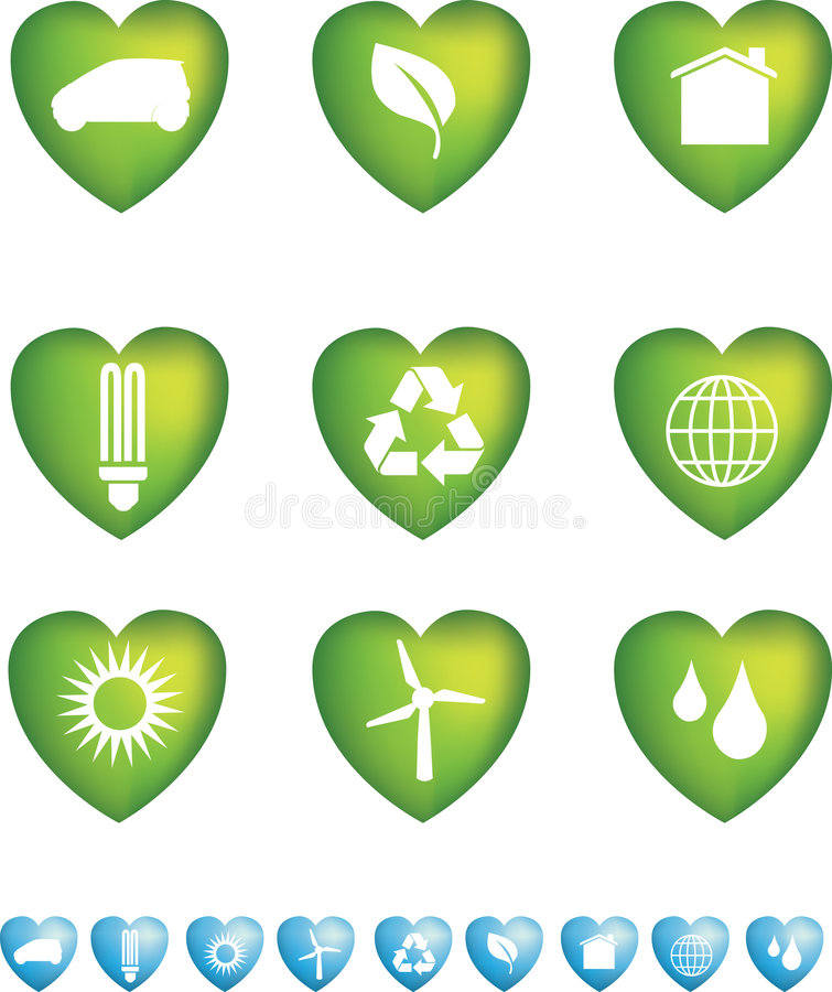 Download Eco icons heart stock vector. Image of light, icon, element - 8549958