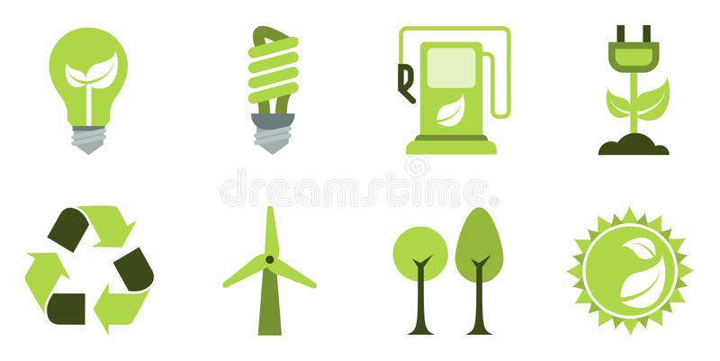 Eco icons set royalty free stock photo