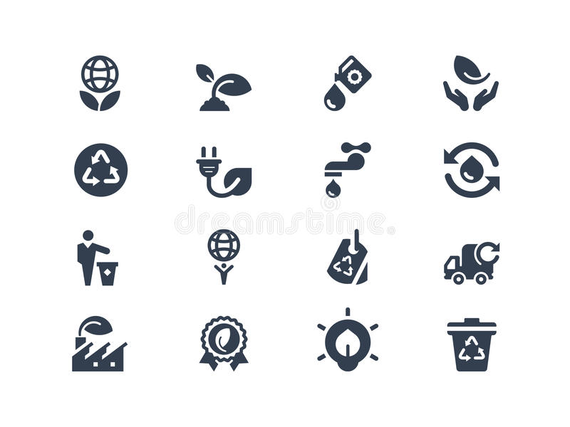 Eco icons. Set of environmental and eco icons vector illustration