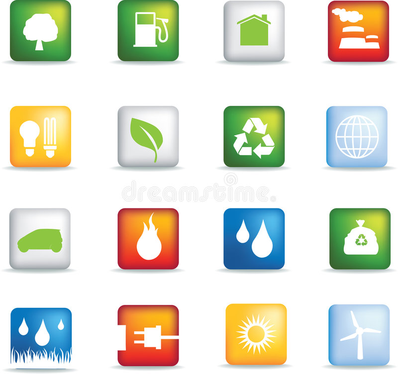 Eco icons square stock illustration