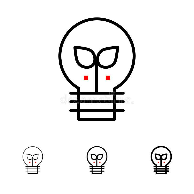 Eco, ideia, lâmpada, linha preta corajosa e fina clara grupo do ícone ilustração stock