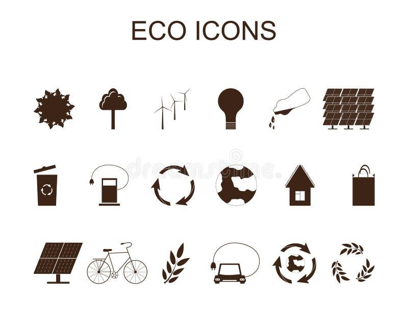 eco ikon ilustracyjny setu wektor Brown symbole ilustracja wektor