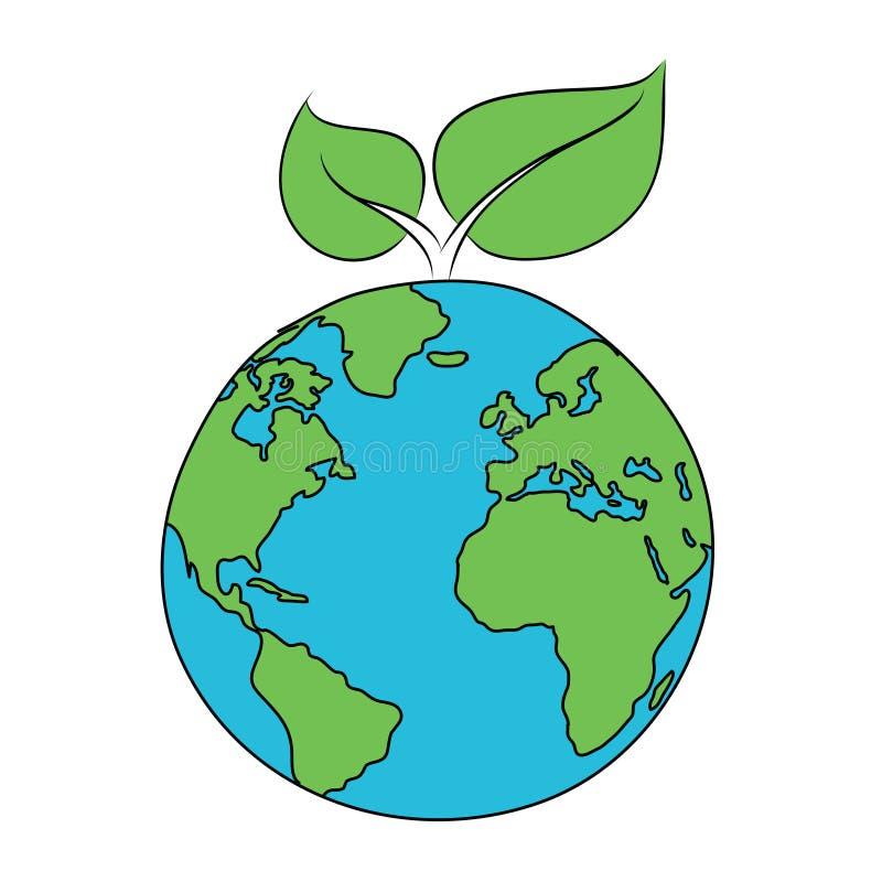 Eco ikona liść na planecie royalty ilustracja