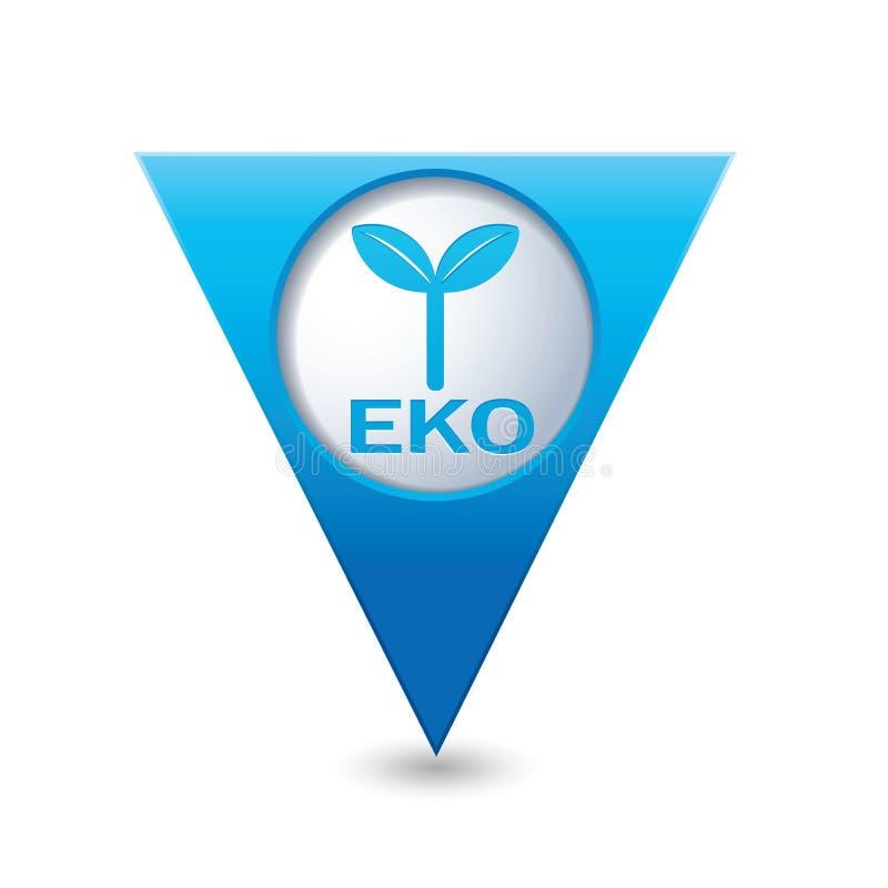 Eco-Ikone, ökologisches Zeichen auf dem Kartenzeiger lizenzfreie abbildung