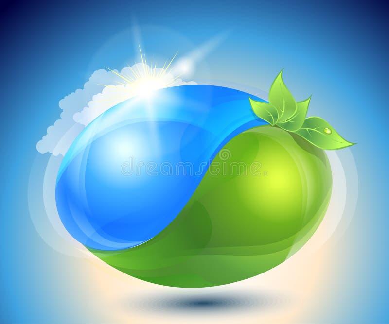 Eco-Ikone mit Natur YinYang lizenzfreie abbildung