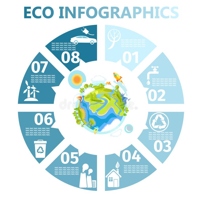Eco Infographics rond avec l'illustration de la terre illustration stock