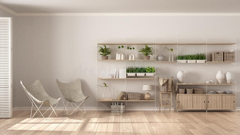 Eco interior design with wooden bookshelf, diy vertical garden s. Torage shelving, living, lounge relax area with armchairs royalty free stock photos