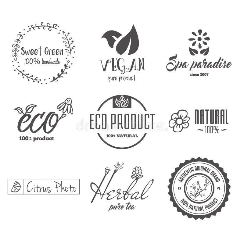 Eco jedzenie, organicznie życiorys produkty, eco życzliwy, weganin ikony, ekologia Set wektorowy logo, odznaki, etykietki i logot ilustracja wektor
