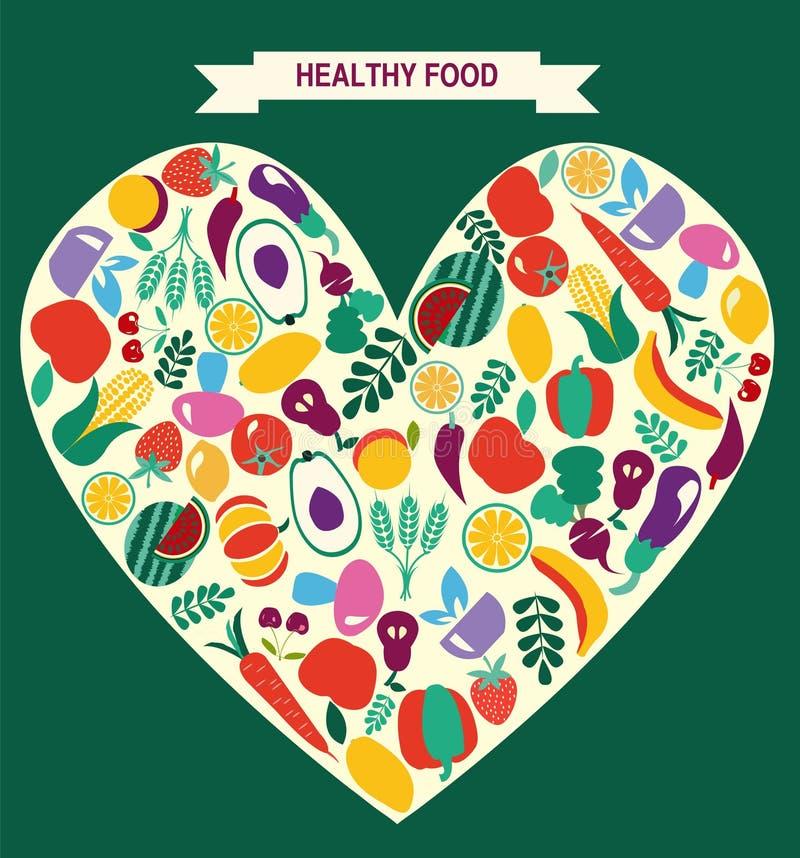 Eco Karmowe ikony ustawiają warzywa i owoc ilustracja wektor