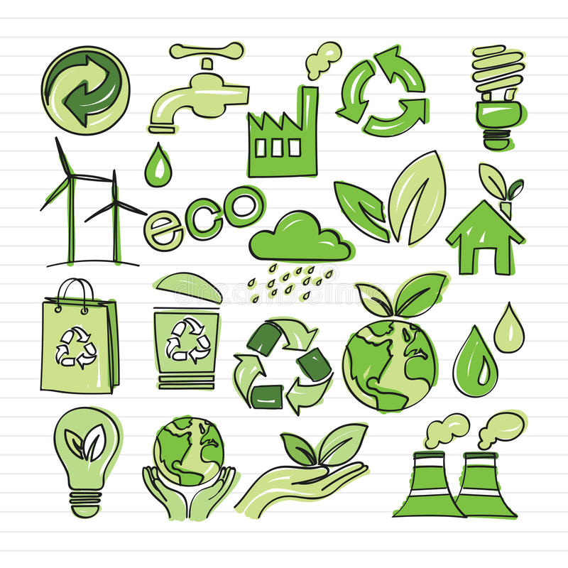 Eco klotter royaltyfri illustrationer