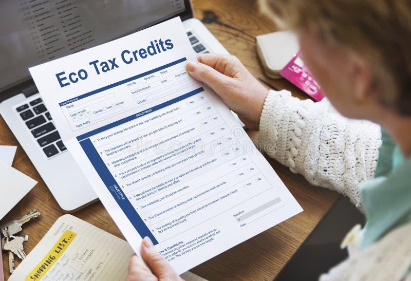 Eco kredyta podatkowego strony grafiki pojęcie zdjęcie stock