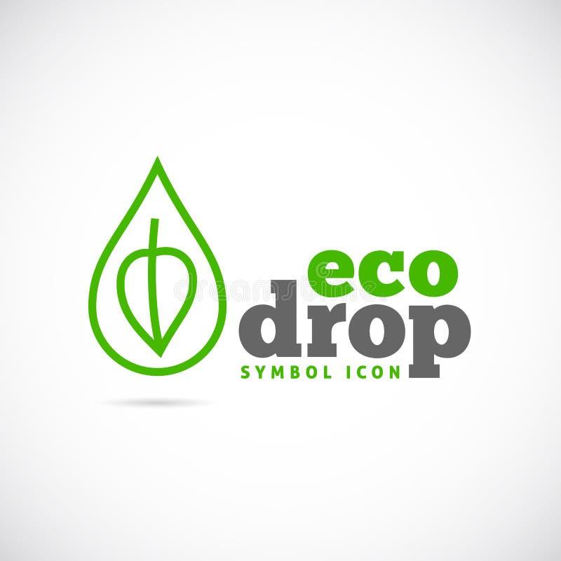 Eco kropli pojęcia symbolu Wektorowa ikona lub logo ilustracji
