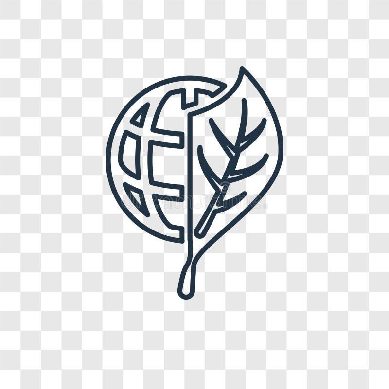 Eco kuli ziemskiej pojęcia wektorowa liniowa ikona odizolowywająca na przejrzystym bac ilustracji