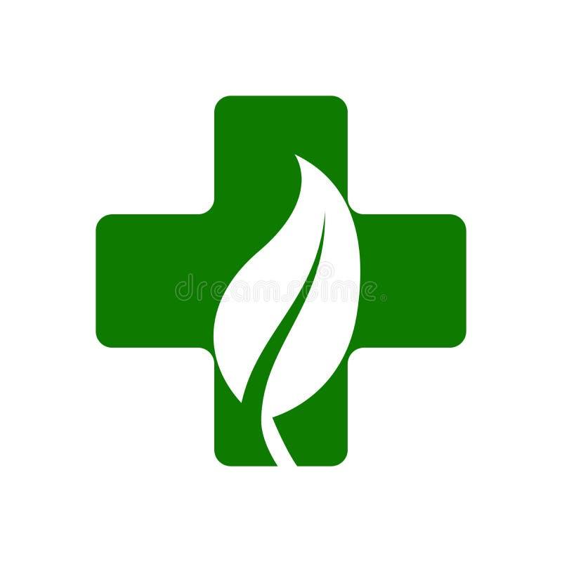 Eco lämnar korset plus medicinsk logosymbol Apotekläkarundersökninglogo stock illustrationer