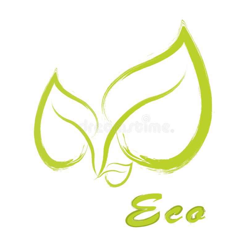 Eco label vector, round emblem, painted icon for natural products packaging, clothing and food pack. Eco sign royalty free illustration