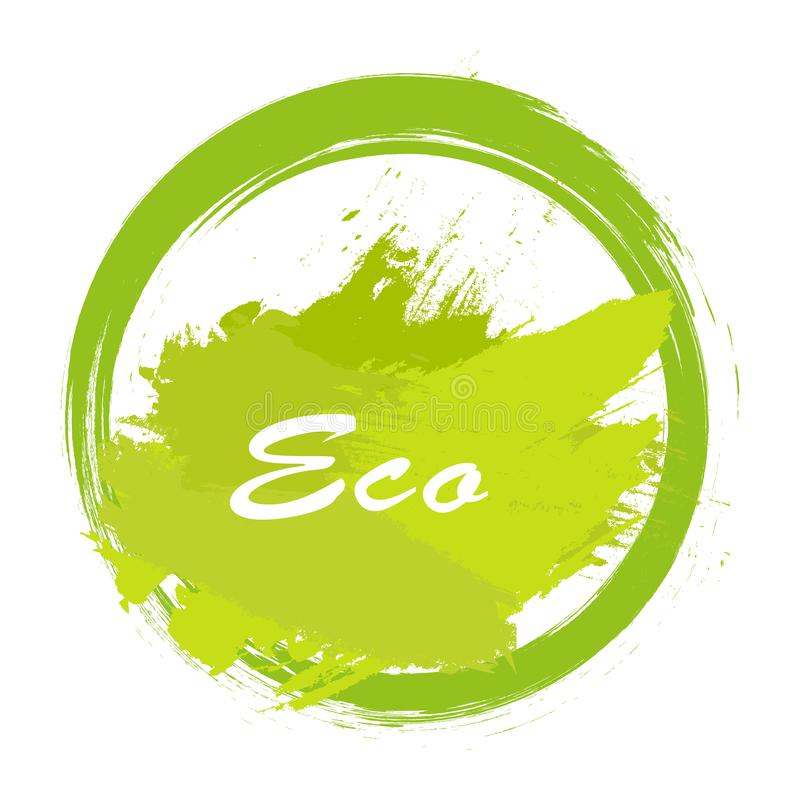Eco label vector, round emblem, painted icon for natural products packaging, clothing and food pack. Eco sign, ecological tag. Circle, leaves icons royalty free illustration