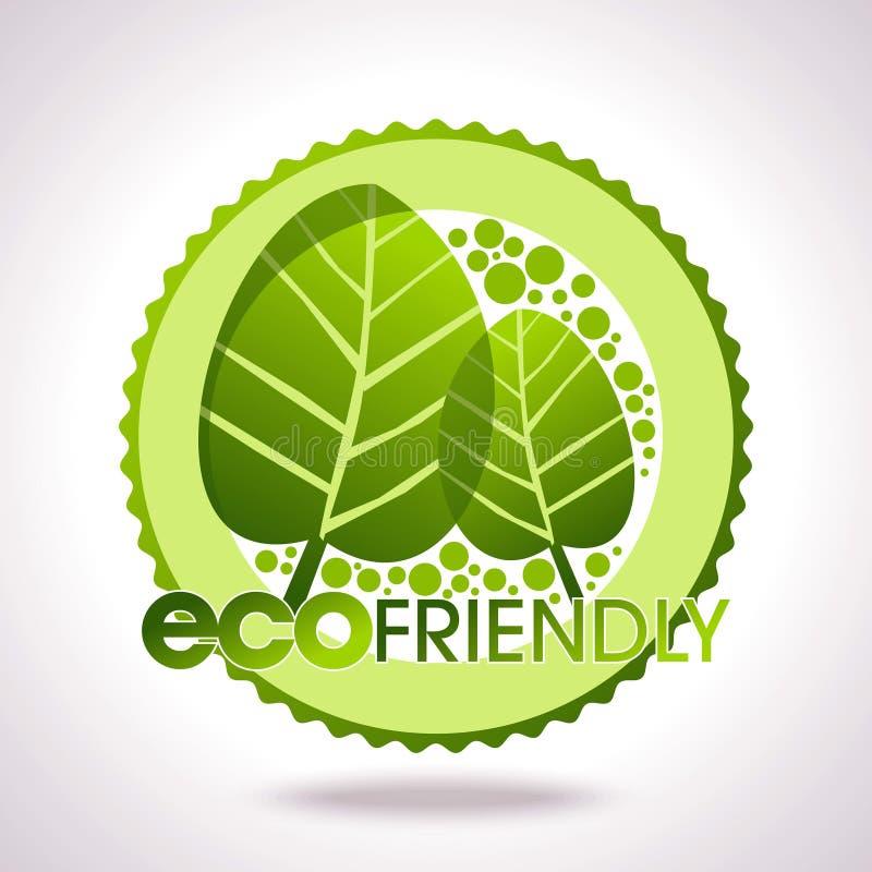 Eco lables, bladeren in cirkel vector illustratie