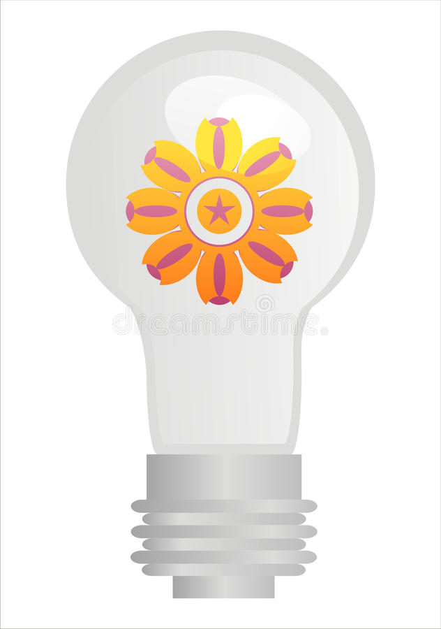 Download Eco lamp with flower stock vector. Image of vector, glass - 17564403
