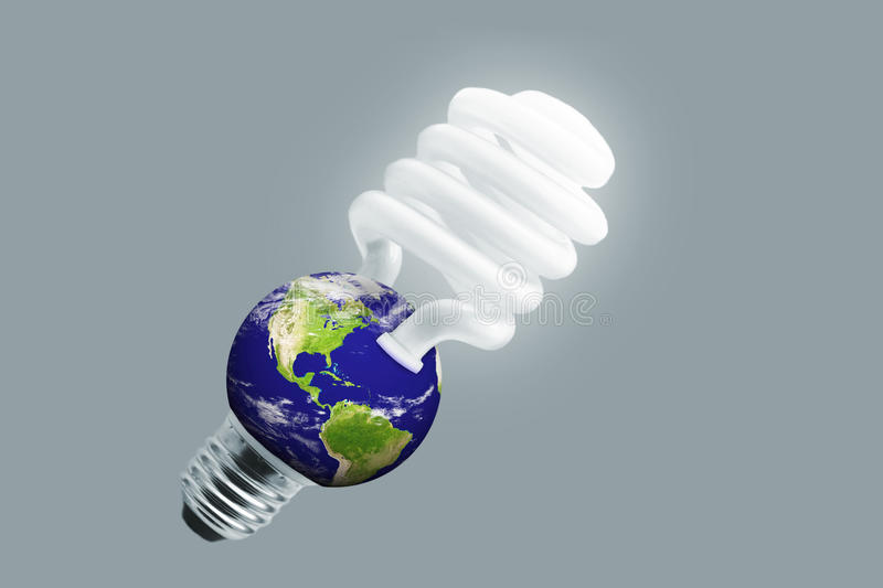 Eco lampe. Eco light lampe earth isolated on white background stock photo